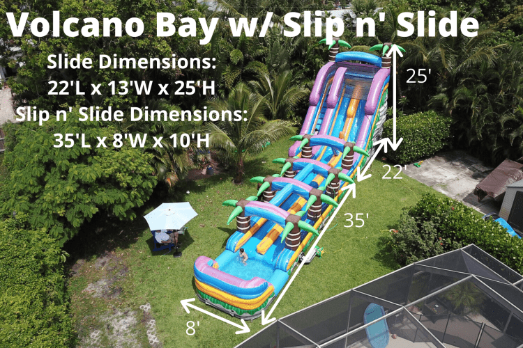 **25' Volcano Bay Double Lane w/ Slip n Slide (57L 13W 25H)